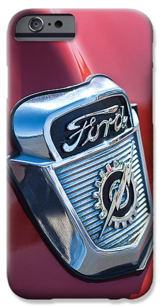 1956 iPhone Cases - 1956 Ford Emblem iPhone Case by Jill Reger