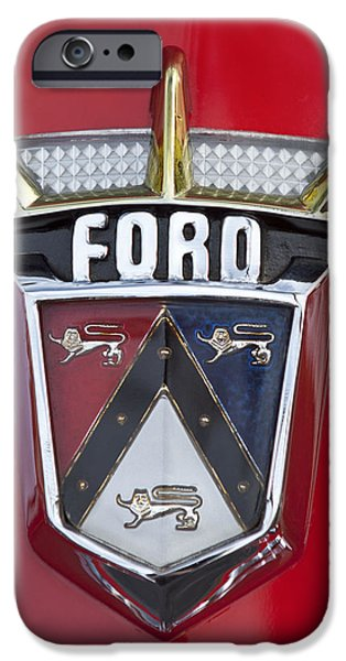 1956 iPhone Cases - 1956 Ford Fairlane Emblem iPhone Case by Jill Reger