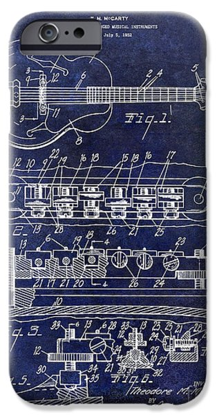 `les iPhone Cases - 1956 Gibson Guitar Patent Drawing Blue iPhone Case by Jon Neidert