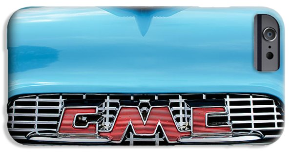 1956 iPhone Cases - 1956 GMC 100 Deluxe Edition Pickup Truck Hood Ornament - Grille Emblem iPhone Case by Jill Reger