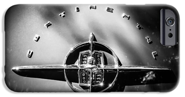Lincoln iPhone Cases - 1956 Lincoln Continental Rear Emblem -1055bw iPhone Case by Jill Reger