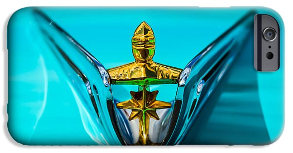 Lincoln iPhone Cases - 1956 Lincoln Premiere Hood Ornament -0815c iPhone Case by Jill Reger