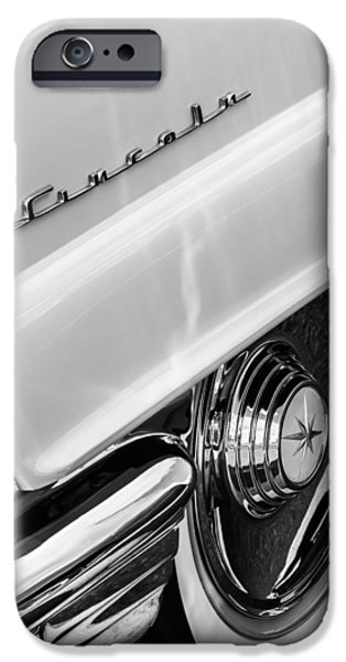 Lincoln iPhone Cases - 1956 Lincoln Premiere Rear Emblem  - Wheel -0828bw iPhone Case by Jill Reger