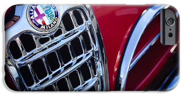 Sprint iPhone Cases - 1957 Alfa-Romeo 1900C Super Sprint Grille Emblem iPhone Case by Jill Reger