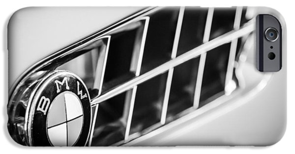 Photography Prints iPhone Cases - 1957 BMW 507 Roadster Emblem -1591bw iPhone Case by Jill Reger
