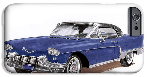 Classic Car Paintings iPhone Cases - 1957 Cadillac 4 door Hard Top iPhone Case by Jack Pumphrey
