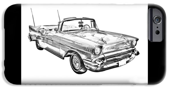 Eyebrow iPhone Cases - 1957 Chevrolet Bel Air Convertible Illustration iPhone Case by Keith Webber Jr