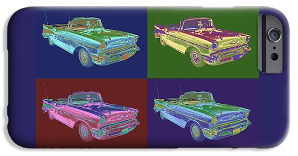 Eyebrow iPhone Cases - 1957 Chevrolet Bel Air Convertible Pop Art iPhone Case by Keith Webber Jr