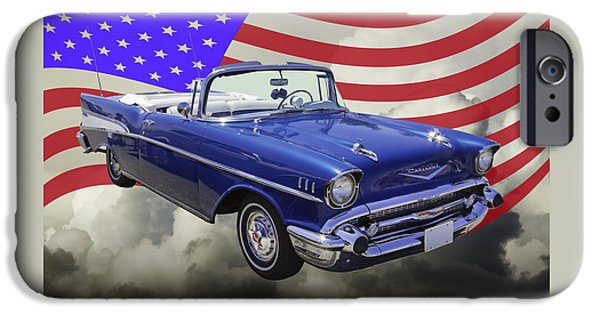 Red White And Blue iPhone Cases - 1957 Chevrolet Bel Air With American Flag iPhone Case by Keith Webber Jr