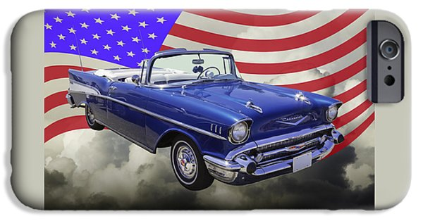 Eyebrow iPhone Cases - 1957 Chevrolet Bel Air With American Flag iPhone Case by Keith Webber Jr
