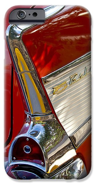 Vintage Images iPhone Cases - 1957 Chevrolet Belair Taillight iPhone Case by Jill Reger