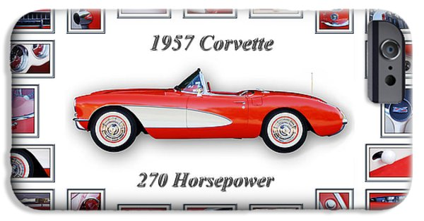 Sports Cars Images iPhone Cases - 1957 Chevrolet Corvette Art iPhone Case by Jill Reger