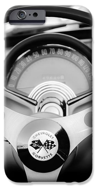 Steering iPhone Cases - 1957 Chevrolet Corvette Convertible Steering Wheel 2 iPhone Case by Jill Reger