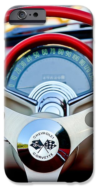 Steering iPhone Cases - 1957 Chevrolet Corvette Convertible Steering Wheel iPhone Case by Jill Reger