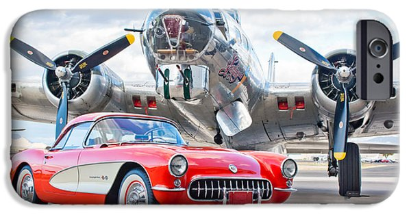 Vintage Cars iPhone Cases - 1957 Chevrolet Corvette iPhone Case by Jill Reger
