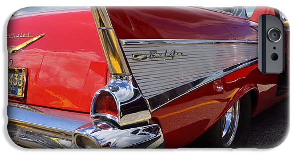 Racing Pyrography iPhone Cases - 1957  Chevrolet  iPhone Case by Ernest Green