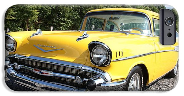 Circuit iPhone Cases - 1957 Chevy Bel-Air in Yellow iPhone Case by John Telfer