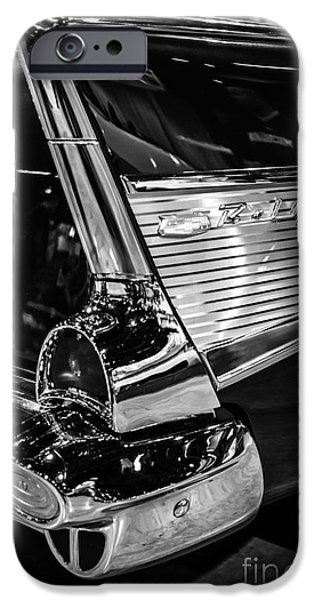 1950 iPhone Cases - 1957 Chevy Bel Air Tail Fin iPhone Case by Paul Velgos