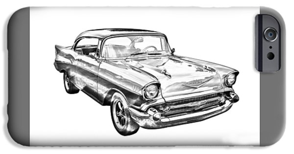 Model iPhone Cases - 1957 Chevy Bel Air Illustration iPhone Case by Keith Webber Jr