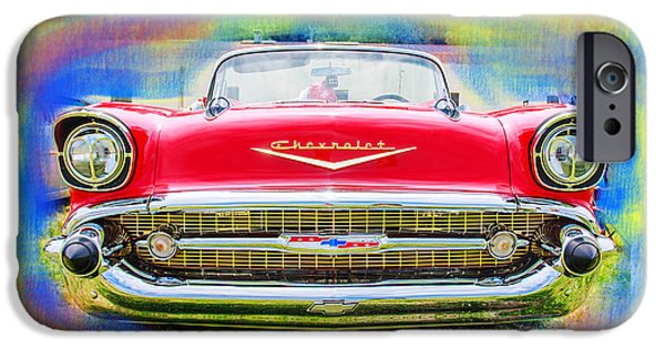 Automotive Pyrography iPhone Cases - 1957 Chevy iPhone Case by Doug Walker