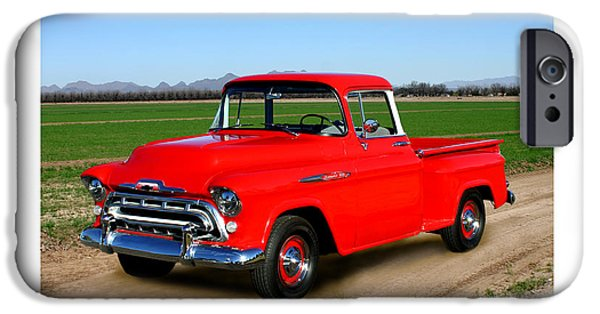 Photographs With Red. iPhone Cases - 1957 Chevrolet 3100 Pick Up Truck iPhone Case by Jack Pumphrey