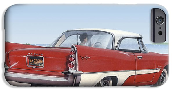 Airbrush iPhone Cases - 1957 De Soto Blank Greeting Card iPhone Case by Walt Curlee