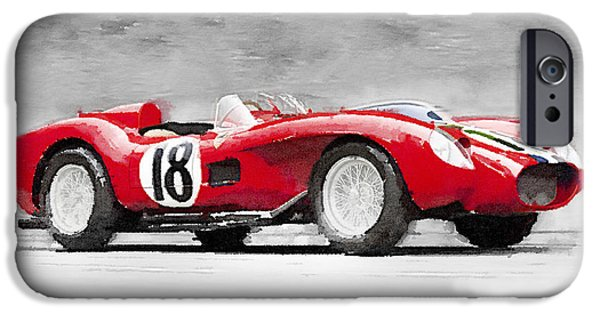 Old Cars iPhone Cases - 1957 Ferrari Testarossa Watercolor iPhone Case by Naxart Studio