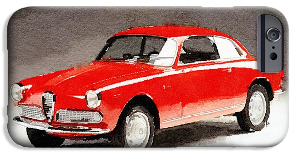 Vintage Car Mixed Media iPhone Cases - 1958 Alfa Romeo Giulietta Sprint Watercolor iPhone Case by Naxart Studio