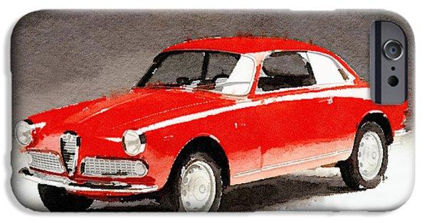 Alfa Romeo iPhone Cases - 1958 Alfa Romeo Giulietta Sprint Watercolor iPhone Case by Naxart Studio