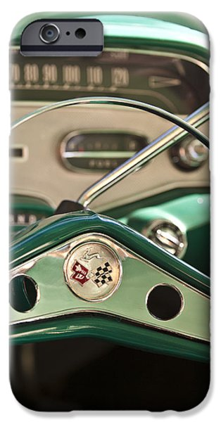 Steering iPhone Cases - 1958 Chevrolet Impala Steering Wheel iPhone Case by Jill Reger