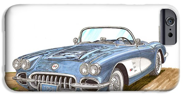 Suspenders iPhone Cases - 1958 Corvette Roadster iPhone Case by Jack Pumphrey