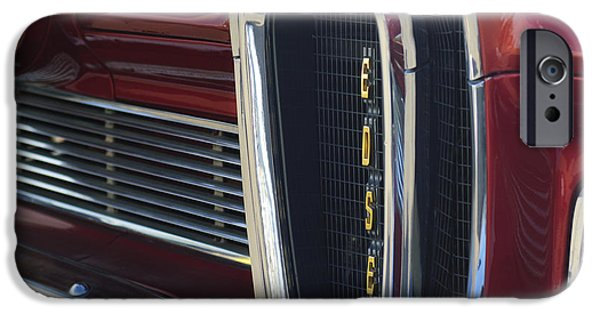 Pacers iPhone Cases - 1958 Edsel Pacer Grille 2 iPhone Case by Jill Reger