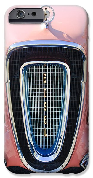 Pacers iPhone Cases - 1958 Edsel Pacer Grille Emblem iPhone Case by Jill Reger