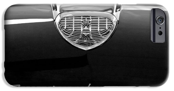 500 iPhone Cases - 1958 Ford Fairlane 500 Victoria Hood Emblem iPhone Case by Jill Reger