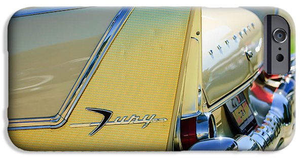 Fury iPhone Cases - 1958 Plymouth Fury Golden Commando Taillight Emblem -3447c iPhone Case by Jill Reger