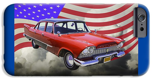 Fury iPhone Cases - 1958 Plymouth Savoy Car With American Flag iPhone Case by Keith Webber Jr
