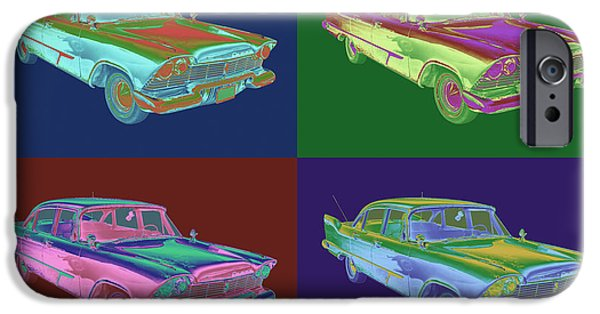 Fury iPhone Cases - 1958 Plymouth Savoy Classic Car Pop Art iPhone Case by Keith Webber Jr