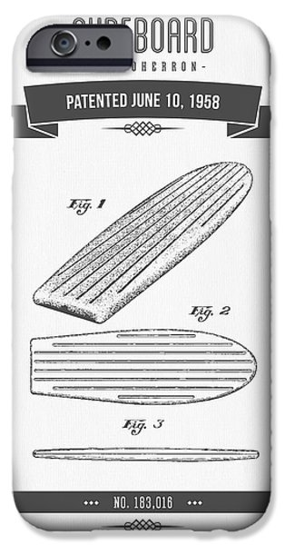 Surfboards iPhone Cases - 1958 Surfboard Patent Drawing - Retro Gray iPhone Case by Aged Pixel