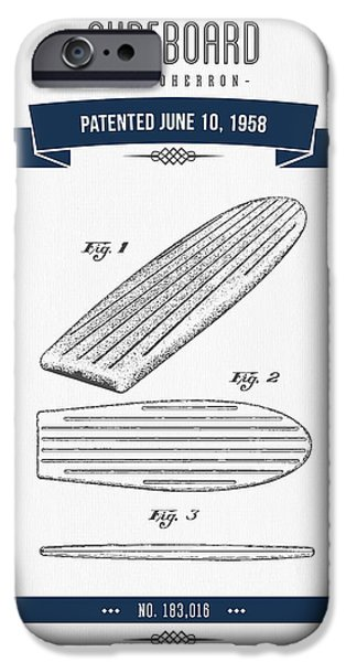 Surfboards iPhone Cases - 1958 Surfboard Patent Drawing - Retro Navy Blue iPhone Case by Aged Pixel
