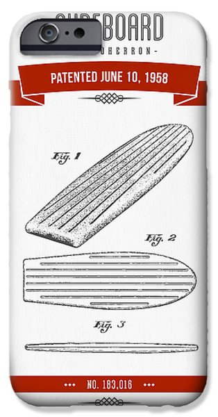 Surfboards iPhone Cases - 1958 Surfboard Patent Drawing - Retro Red iPhone Case by Aged Pixel