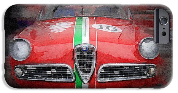 Vintage Car iPhone Cases - 1959 Alfa Romeo Giulietta Watercolor  iPhone Case by Naxart Studio
