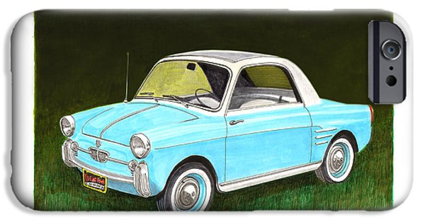 Business Drawings iPhone Cases - 1959 Autobianchi Bianchina iPhone Case by Jack Pumphrey