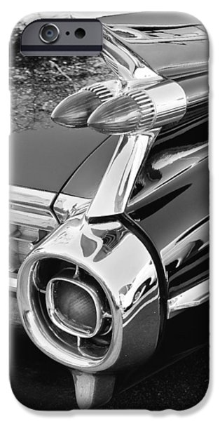 1959 Black and White Caddy iPhone Case by Rich Franco