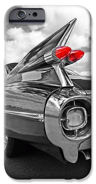 Old Cars iPhone Cases - 1959 Cadillac Tail Fins iPhone Case by Gill Billington