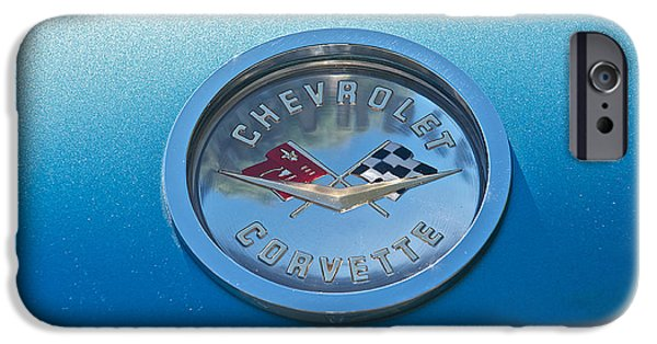 Flag iPhone Cases - 1959 Chevrolet Corvette Flags iPhone Case by Dave Koontz