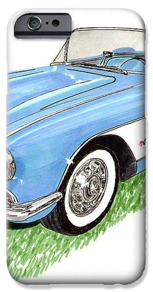 1959 Corvette frost blue iPhone Case by Jack Pumphrey