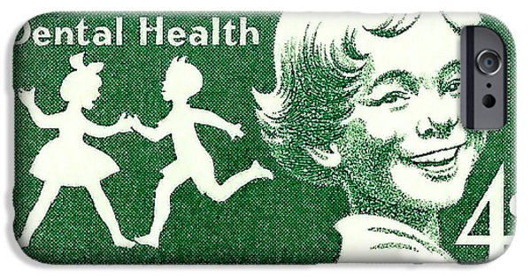 Us Postal Service iPhone Cases - 1959 Dental Health Postage Stamp iPhone Case by David Patterson