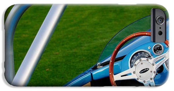 Professional Racing iPhone Cases - 1959 Devin SS Steering Wheel iPhone Case by Jill Reger