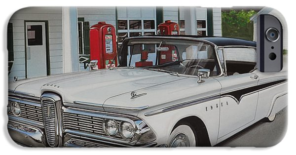 Shed Drawings iPhone Cases - 1959 Edsel Ranger iPhone Case by Paul Kuras