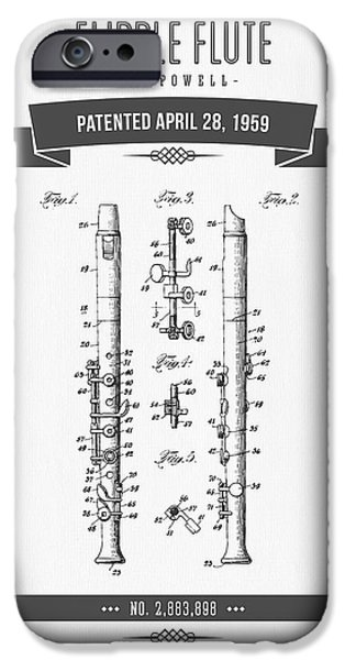 Flute iPhone Cases - 1959 Flipple Flute Patent Drawing iPhone Case by Aged Pixel